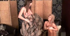 2 Beautiful Girls having fun in their furs, Closeupvagina
