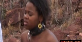 African babe pleasing two throbbing cocks outdoors, RominaP96x