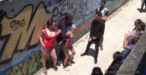 Blue haired slave begging for public disgrace, karasputin