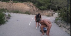 Busty Russian babe Kira Queen eats cum in wild hard outdoor sex on the road, BaranBoomm