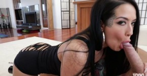 Katrina Jade sexy tattooed brunette tries to swallow cock completely Pov, asitillec