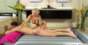 Busty Masseuse Daisy Monroe Gives Massage And Sucks Client's Dick, TyraBJXXX